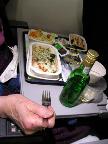plane food with wine